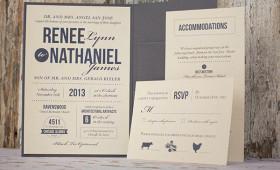 Rustic modern pocket folder invitation